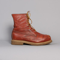 Vintage 80s RED WING Work BOOTS / Rugged Brown Leather Men's Boots, 12