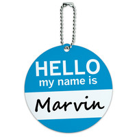 Marvin Hello My Name Is Round ID Card Luggage Tag