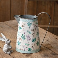 Metal Pitcher with Floral and Plaid Design