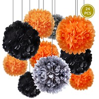 BLOWOUT Halloween Celebration Party Pack Tissue Paper Pom Pom Combo Set (24 pc Set)