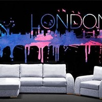 London Watercolor Decal for Housewares, 58.3 x 26 Inches | 148 x 66 cm
