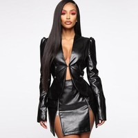 Lisa Faux Leather Two Piece Jacket Set