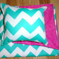 American Girl Doll Bedding, chevron pillow and blanket for 18 inch doll