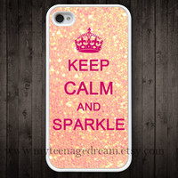 iphone 4 case, iphone 4s case, Keep Calm and sparkle Painting white hard case, pink sparkle iphone 4 case