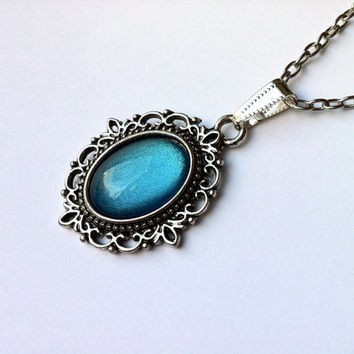 TURQUOISE CAMEO Necklace - Hand Painted Vintage Cameo Pendant Necklace - Retro style antique silver tone necklace - Gift for her