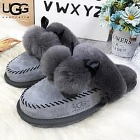 UGG Autumn And Winter New Fashion Fur Flats Hairball Women Keep Warm Sandals Slippers Shoes