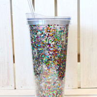 Multi Confetti Tall Tumbler {22oz}