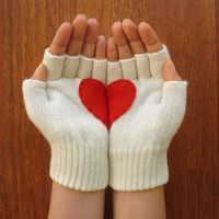 Heart Gloves, Fingerless Cream Gloves with Red Felt Heart