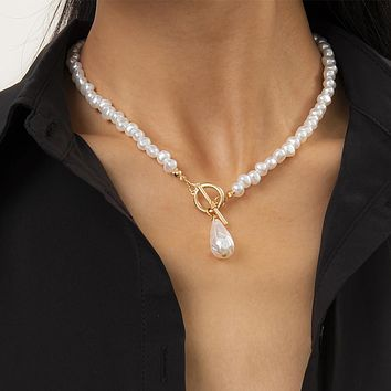 Teardrop-Shaped Imitation Pearls Pendant Necklace For Women Hip Hop Pearl Chain Choker Necklace Jewelry Gifts
