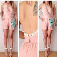 Sexy Halter Keyhole Lace Embroidered Open Backless Wrap Romper Jumpsuit Shorts A