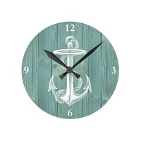 Anchor Vintage Aqua Wood Clock