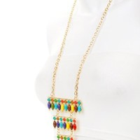 Stunning X-LARGE Multi-colored Tribal/ethnic Pendant Necklace