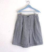 80s checkered shorts. long preppy and pleated shorts. size 14