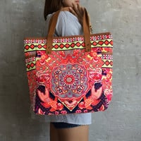 Weekender Bag Summer Large Tote Canvas bag Colorful Neon Printed Canvas Tribal Hobo Hippie bag Weekender bag Beach bag Boho Bag Beach Purse