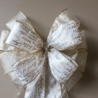 Christmas Bow-Gold Ivory Sparkle Christmas Bow- Rebekkah Ribbon-Wreath Pew Bow Stair Door  Mailbox Tree Topper