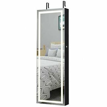 Door Wall Mount Touch Screen Mirrored Jewelry Cabinet-Black - Color: Black