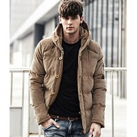 Men Windproof Quality Cotton Padded Jacket Coat