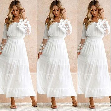 Lace patchwork dress with single collar