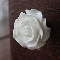 Big Rose Drawer Knob in White More COLORS Available (RFK10)