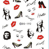 DS192 DIY Nail Design Water Transfer Nails Art Sticker Sexy Kiss Red Lips Women Nail Wraps Sticker Watermark Fingernails Decals