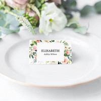 Place cards template printable, Custom floral wedding table place cards, Table name cards template, Blush and greenery, Instant download PDF