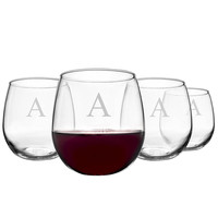 Personalized 16.75 oz. Stemless Red Wine Glasses (Set of 4)
