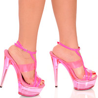 Strappy Neon UV Reactive 6 Inch Heels-Clubbing Shoes