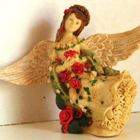 Angel with Red Roses Ceramic Vintage Circa 1980s