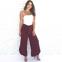 Tulip Ribbed Wide Leg Pants in Wine