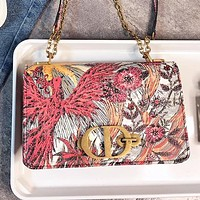 Dior New fashion floral bird print leather chain shoulder bag crossbody bag