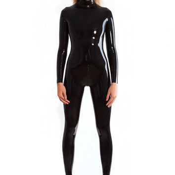 Latex catsuit with crotch zipper