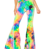 Tie Dye Velvet Bell Bottom Pants