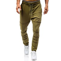 2017 New Fashion Fitness Mens Casual Long Pants Sportswear Trousers Slim Sweatpants Casual Drawstring Army Green Hole Loose Pant