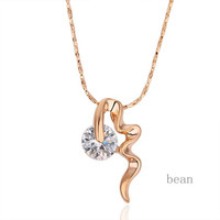 Gold/Silver Crystal Pendant Chain Necklace Jewelry High Quality Love Gift Accessories 2 Colors