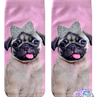Pug With Glitter Bow Ankle Socks