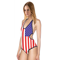 Aliexpress explosion of American flag printed swimsuit sexy slim body cross MAS-M swimwear