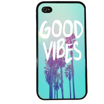 GOOD VIBES iPhone Case / Palm Trees iPhone 4 Case California iPhone 5 Case iPhone 4S Case iPhone 5S Case Summer Surfer Quote Phone Case