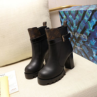 lv louis vuitton trending womens men leather side zip lace up ankle boots shoes high boots 188