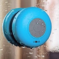 Liger® Waterproof Wireless Bluetooth Shower Speaker & Hands-Free Speakerphone Compatible with all Bluetooth Devices, iPhone 5s Siri and All Android devices (Blue)