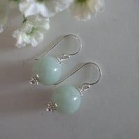 12MM Genuine Green Jade Dangle Earrings, Sterling Silver Ear Hooks, Bridal, Bridesmaid, Gift Idea, Christmas, Valentine's Day, Mother's Day