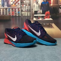 """NIKE"" Fashion Casual Multicolor Knit Breathable Fly Line Unisex Sneakers Couple Running Shoes"