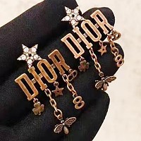 DIOR New fashion diamond star letter bee retro long earring