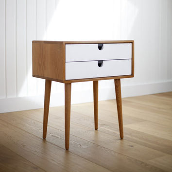 2014 Collection Mid-Century Scandinavian Side Table / Nightstand - Frame and legs made of solid oak in honey ,and drawers lacquered in white