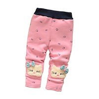 Baby Girls cute cartoon leggings pants infant winter warm dot plus velvet thick leggings pants toddler kids trousers
