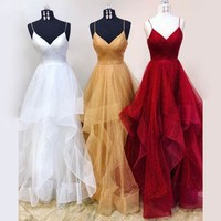 Prom Dresses V Neck Tulle Glitter Straps Evening Dress