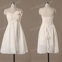 2014 Ivory Sweetheart Strapless Flower lace-up A-Line Long Bridesmaid Dress, Tea Length Empired Chiffon Evening Party Prom Dress
