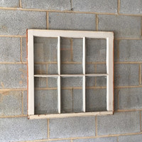 Vintage 6 Pane Window Frame - Off White, 28 x 27,  Rustic, Wedding, Beach, Home, Decor, Photos, Pictures, Holiday Decor, Business