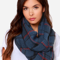 Put in Print Navy Blue Plaid Infinity Scarf