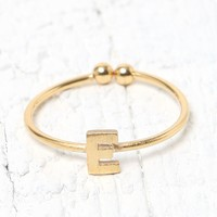 Wanderlust + Co 'E' Initial Ring - Womens Jewelry - Gold - 7