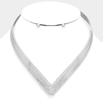 "14.50"" textured cuff V shape choker necklace collar .20"" earrings"